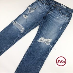 AG The Beau Slouchy Skinny Ripped Jeans 27/4